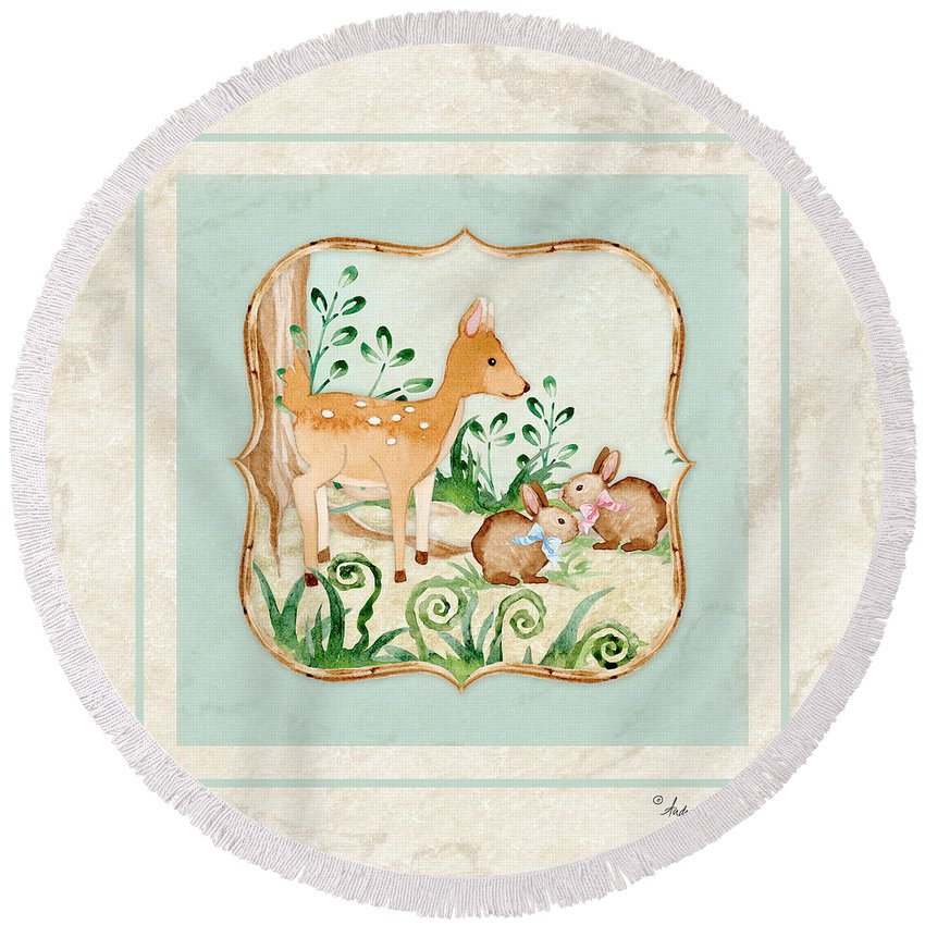Woodland Round Beach Towel featuring the painting Woodland Fairy Tale - Deer Fawn Baby Bunny Rabbits In Forest by Audrey Jeanne Roberts