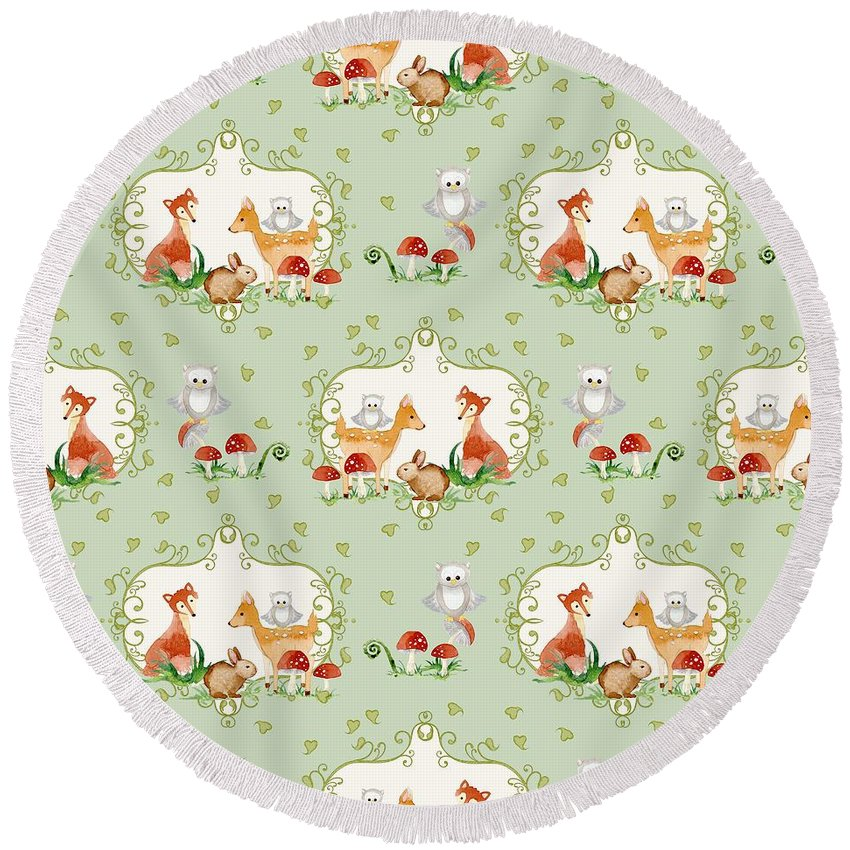 Trendy Round Beach Towel featuring the painting Woodland Fairy Tale - Mint Green Sweet Animals Fox Deer Rabbit Owl - Half Drop Repeat by Audrey Jeanne Roberts