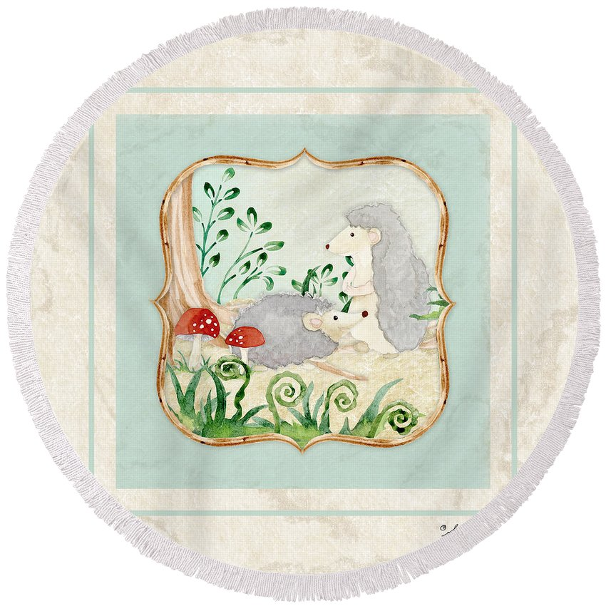 Woodchuck Round Beach Towel featuring the painting Woodland Fairy Tale - Woodchucks In The Forest W Red Mushrooms by Audrey Jeanne Roberts