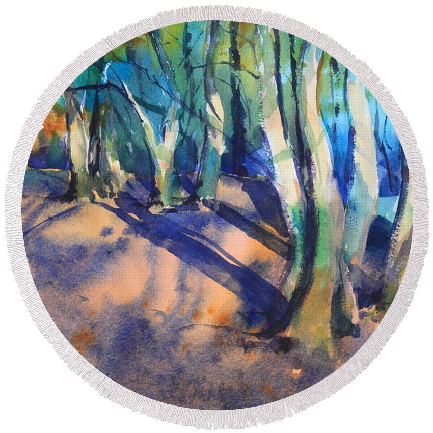 Woodland Round Beach Towel featuring the painting Woodland by Ibolya Taligas