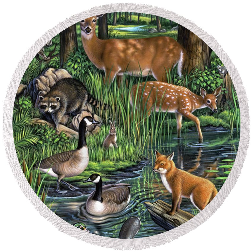 Animals Round Beach Towel featuring the painting Woodland by Jerry LoFaro