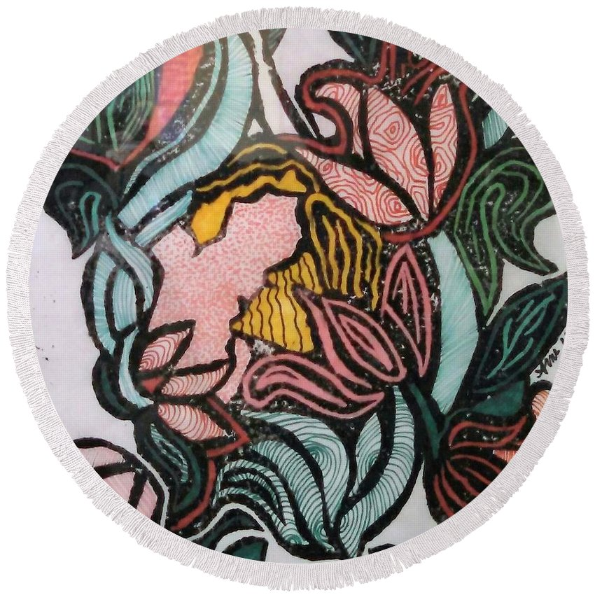 Flower Round Beach Towel featuring the drawing Woodland Nymph 1 by Anne Robinson