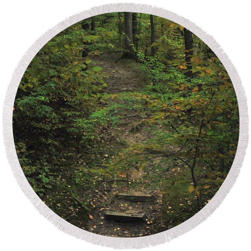 Wood Round Beach Towel featuring the photograph Woodland Steps by Michelle Hastings