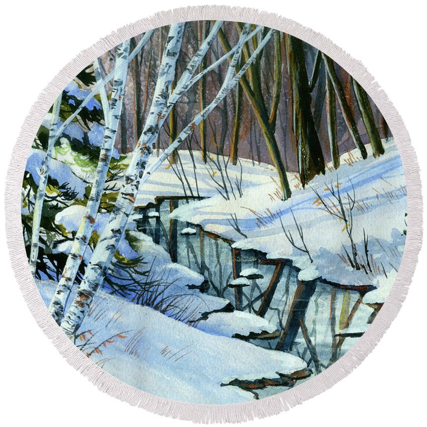 Winter Round Beach Towel featuring the painting Woodland Stream by Cheryl Johnson