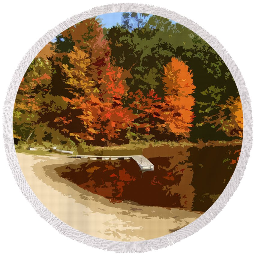 Autumn Round Beach Towel featuring the photograph Woodlands On The Lake by Michelle Calkins