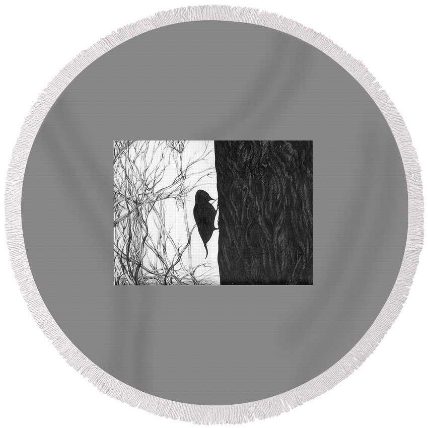 Pen And Ink Round Beach Towel featuring the drawing Woodpecker by Anna Duyunova