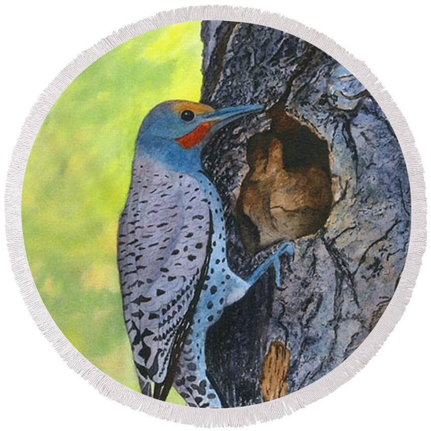 Woodpecker Round Beach Towel featuring the painting Woodpecker by Sharon Farber