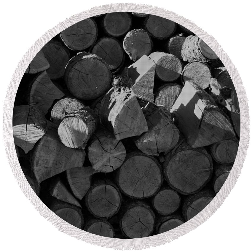 Monochrome Round Beach Towel featuring the photograph Woodpile 2 by LKB Art and Photography