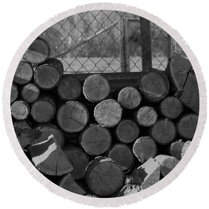 Monochrome Round Beach Towel featuring the photograph Woodpile by LKB Art and Photography