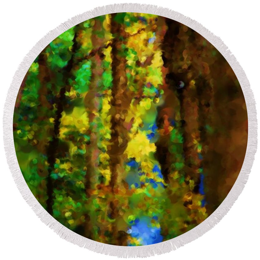Digital Photograph Round Beach Towel featuring the photograph Woods Approach To Lake by David Lane