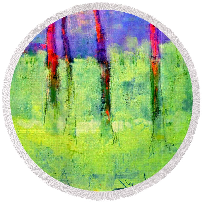 Woods Forest Abstract Round Beach Towel featuring the painting Woods Canyon 6 by Dan Hoglund