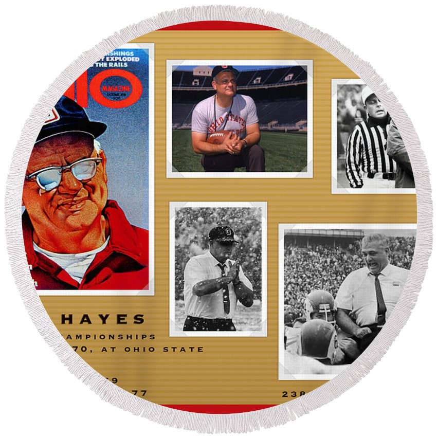 Woody Hayes Round Beach Towel featuring the painting Woody Hayes Legen Five Panel by John Farr