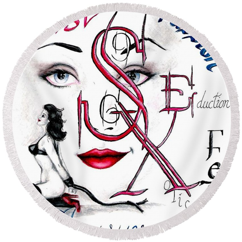 Erotic Round Beach Towel featuring the drawing Words of the Dirty Mind by Scarlett Royal