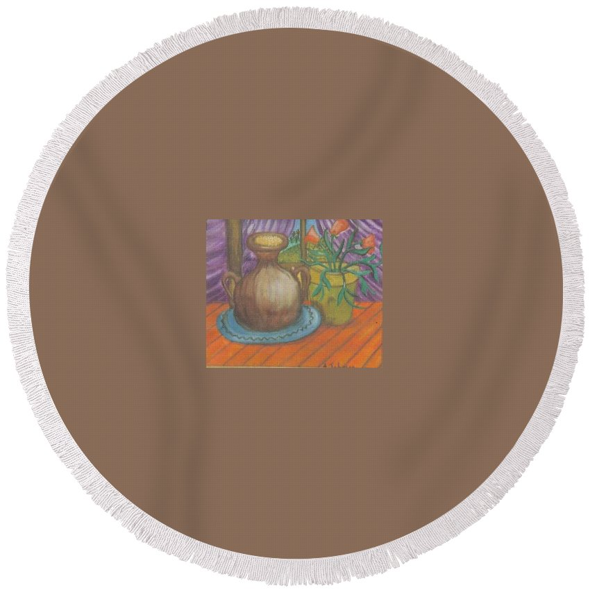 Still Life Round Beach Towel featuring the painting Work by Andrew Johnson