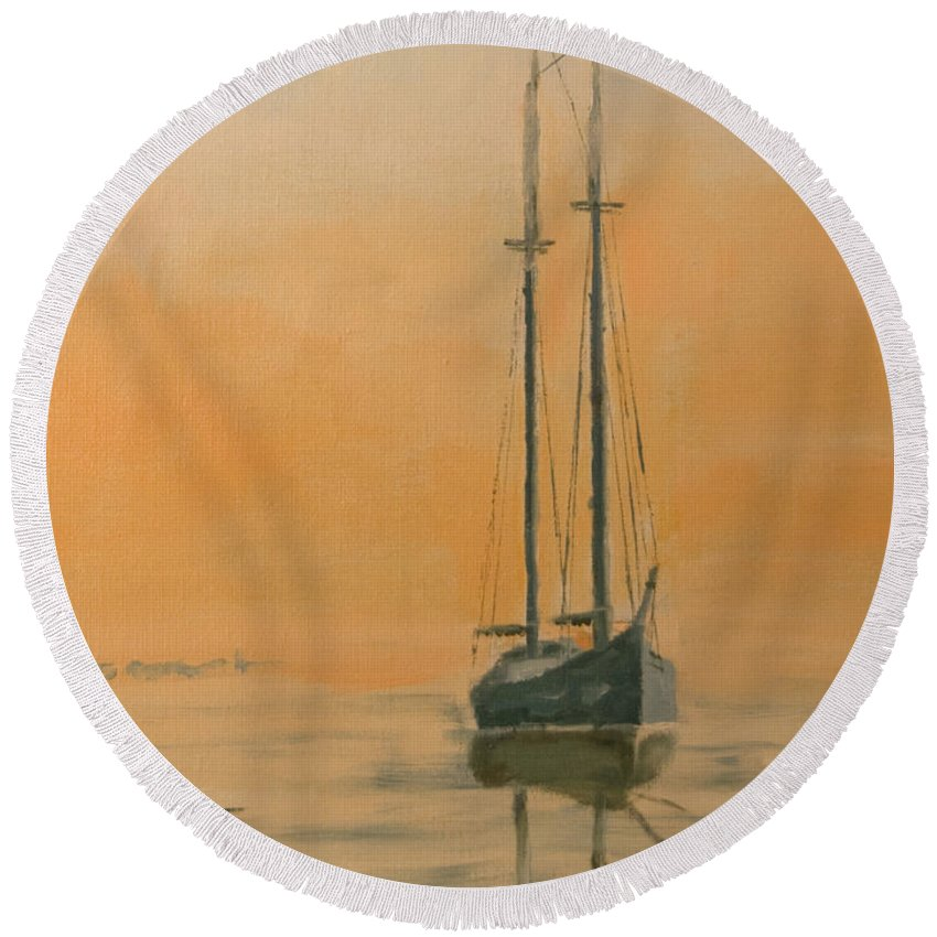 Boat Round Beach Towel featuring the painting Work Boat At Rest by Christopher Jenkins