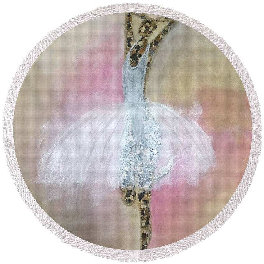 Ballerina Round Beach Towel featuring the painting Work In Progress by Crystal Stagg