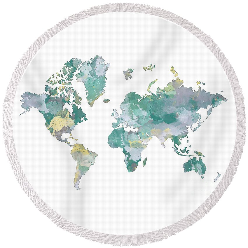World Map Round Beach Towel featuring the digital art World Map 11 Watercolor by Svetla Tancheva
