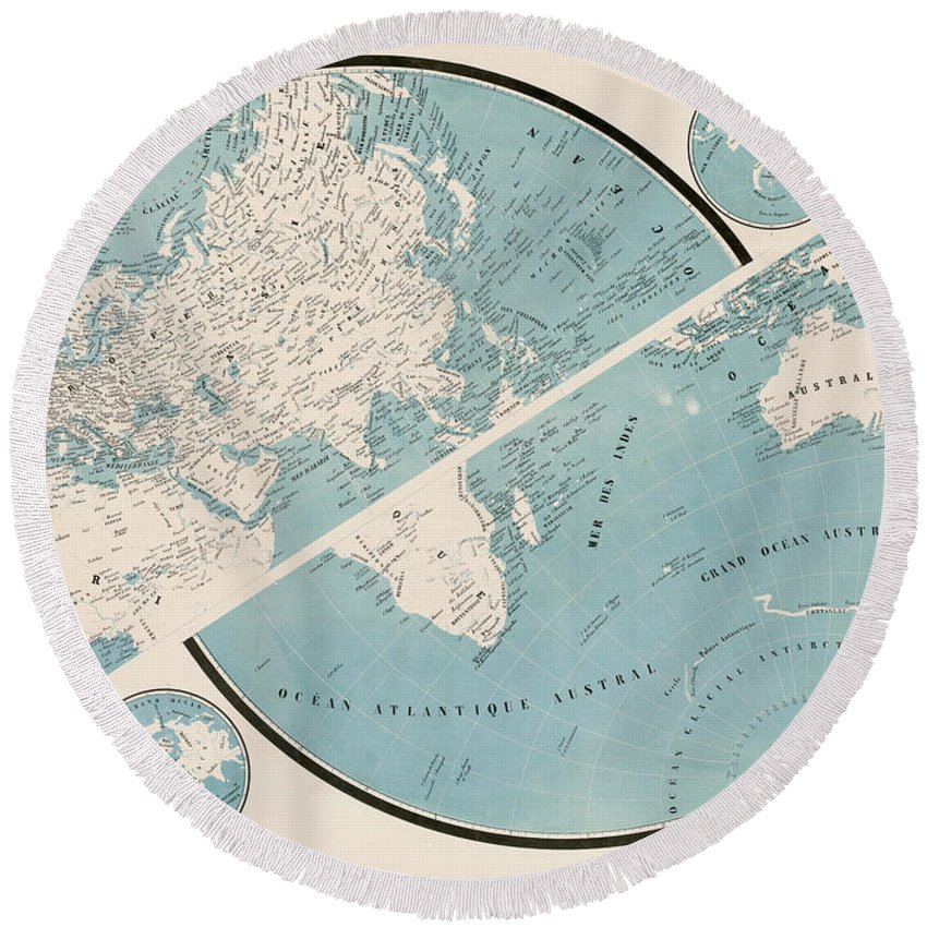 Round Beach Towel featuring the mixed media World Map - 1857 by Art Makes Happy