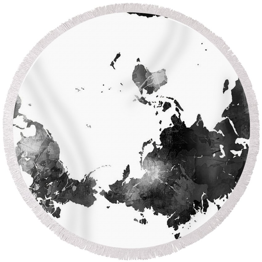 World map black and white round beach towel for sale by marlene watson world map black and white round beach towel featuring the digital art world map black gumiabroncs Gallery