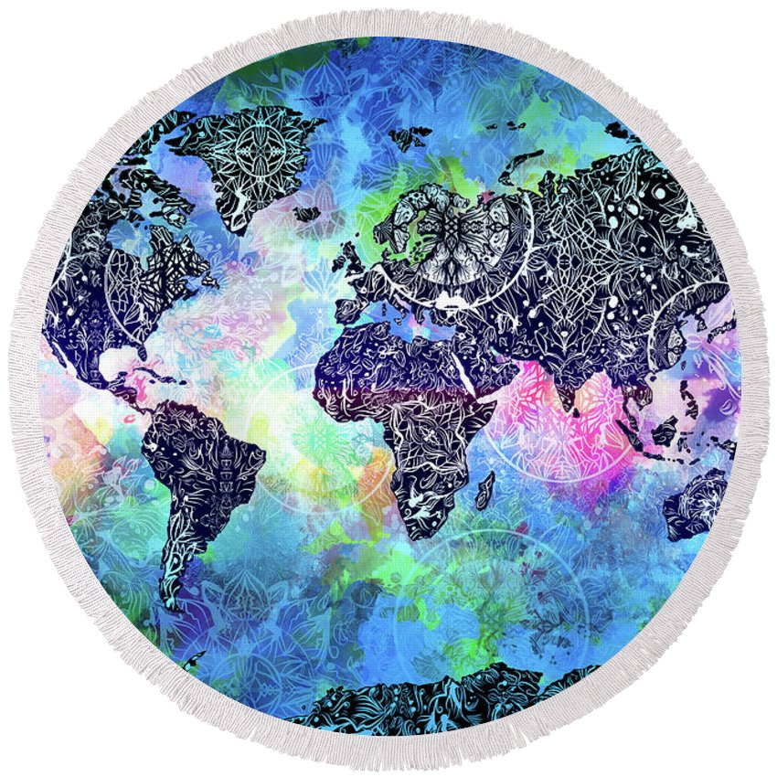 World Map Mandala Watercolor Round Beach Towel For Sale By Bekim Art - Mandala map of the world