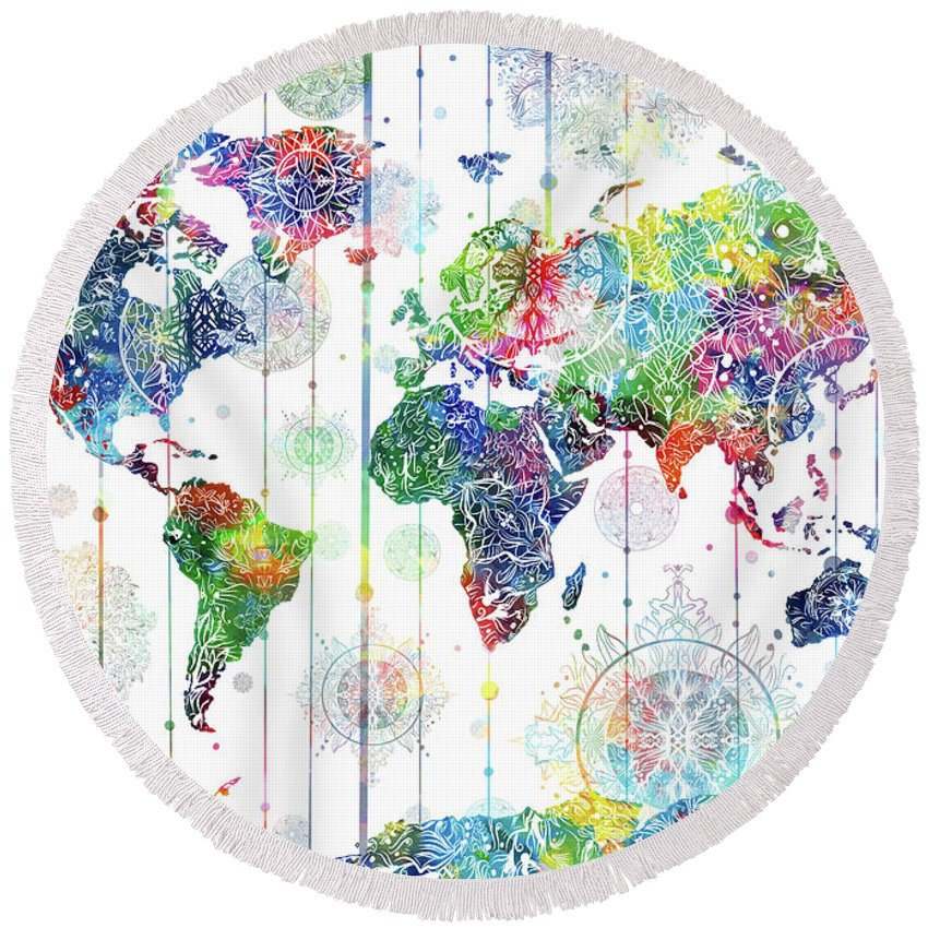 world map mandala white 1 round beach towel for sale by bekim art