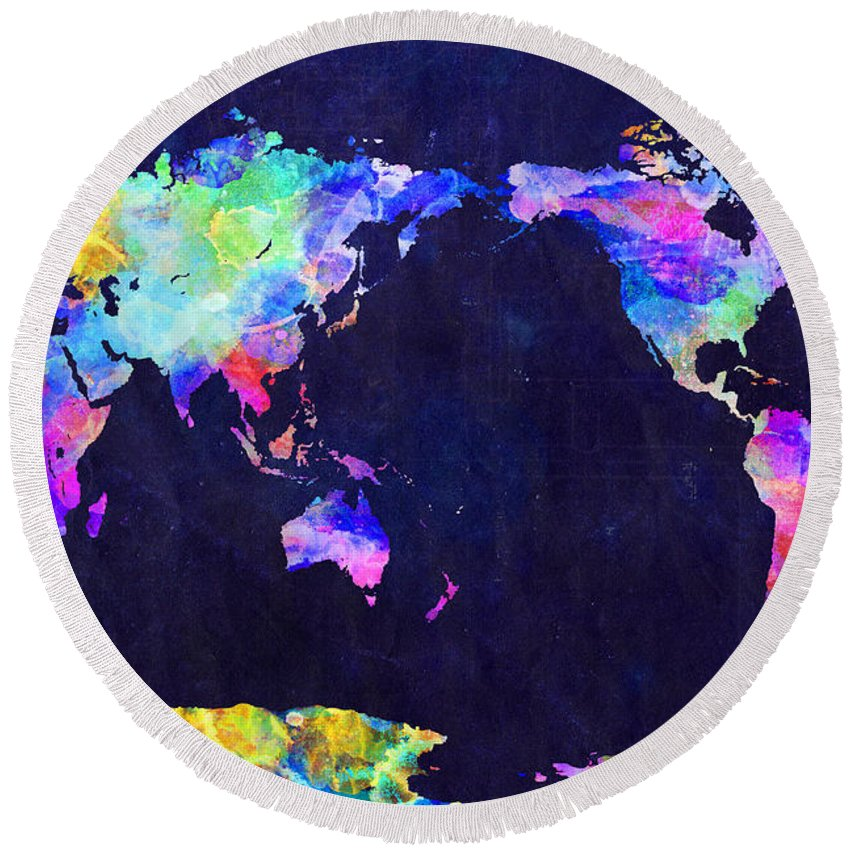 Urban Watercolor World Map.World Map Urban Watercolor Pacific Round Beach Towel For Sale By