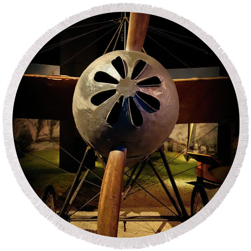 Aircraft Round Beach Towel featuring the photograph World's First 'fighter' Aircraft 1914 by Daniel Hagerman