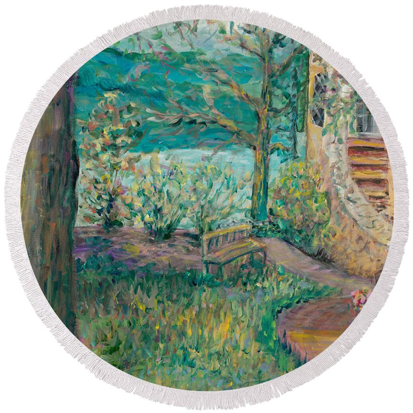 Big Cedar Lodge Round Beach Towel featuring the painting Worman House At Big Cedar Lodge by Nadine Rippelmeyer
