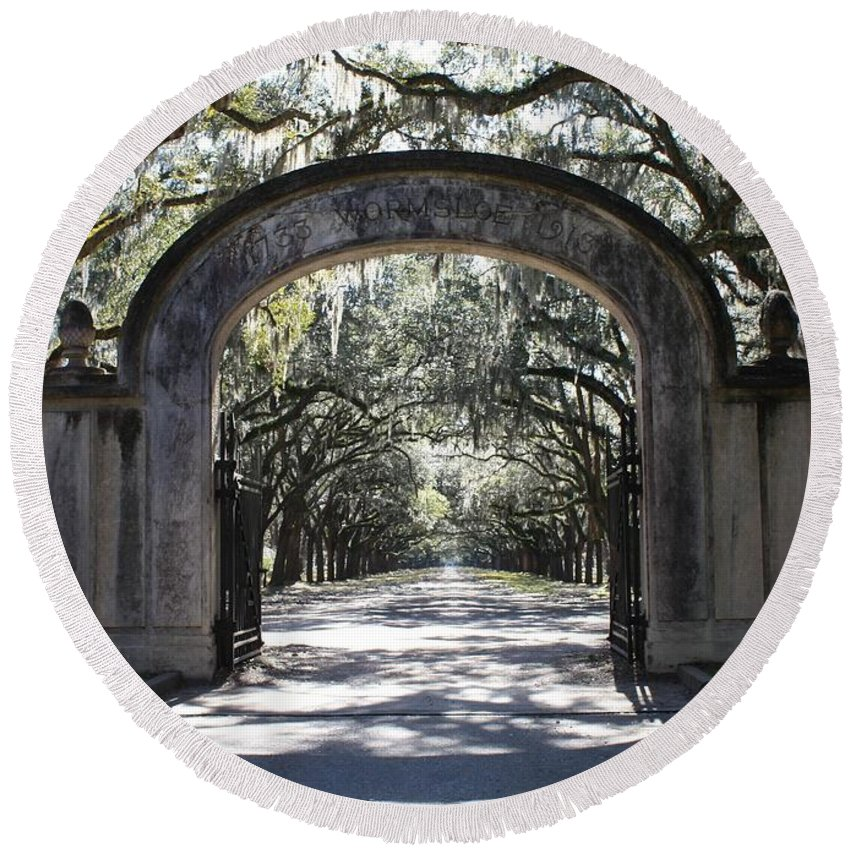 Gate Round Beach Towel featuring the photograph Wormsloe Plantation Gate by Carol Groenen