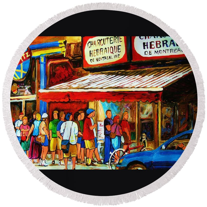 Montreal Streetscenes Round Beach Towel featuring the painting Worth The Wait by Carole Spandau