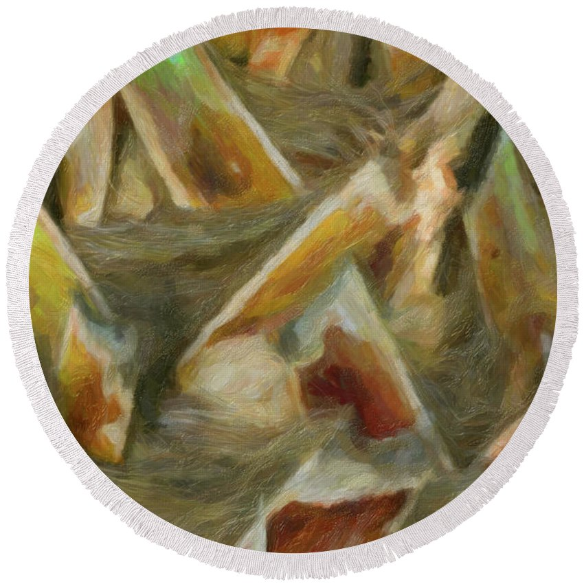 Abstract Round Beach Towel featuring the photograph Woven by Ron Blanton
