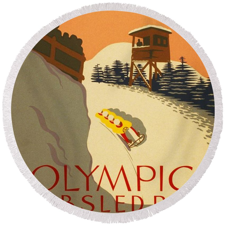 Wpa Art Posters Round Beach Towel featuring the digital art Wpa Olympic by David Lane
