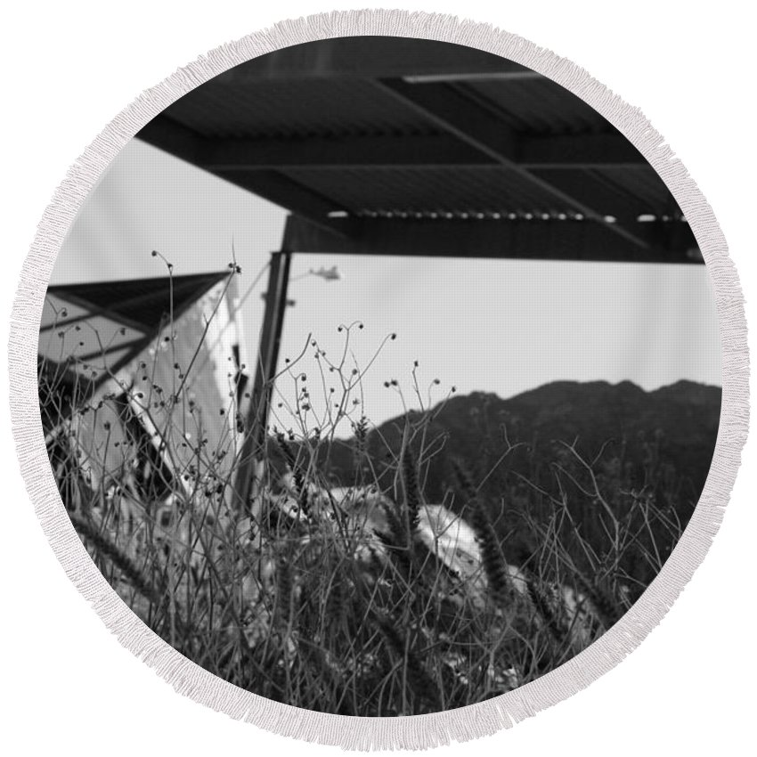Abandoned Round Beach Towel featuring the photograph Wreak Black And White by David S Reynolds