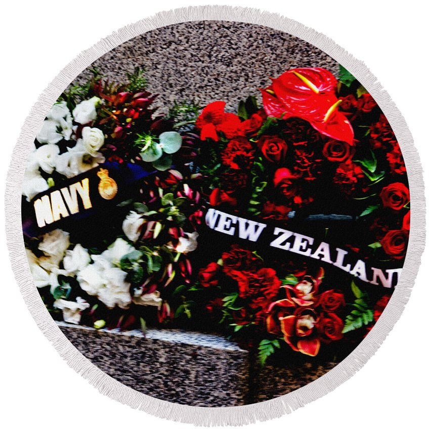 Wreath Round Beach Towel featuring the photograph Wreaths From New Zealand And Our Navy by Miroslava Jurcik
