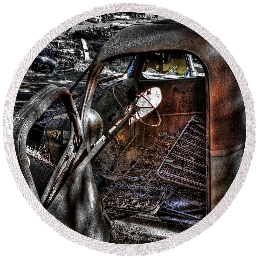 Automotive Landscape Round Beach Towel featuring the photograph Wrecking Yard Study 5 by Lee Santa