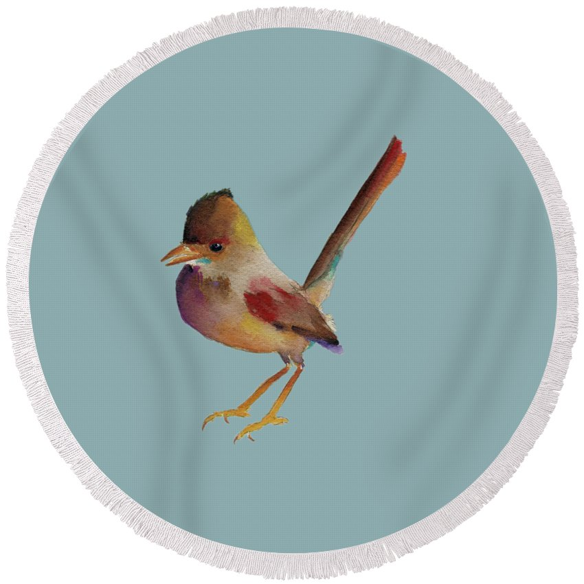 Wren Prints Round Beach Towel featuring the painting Wren by Francisco Ventura Jr