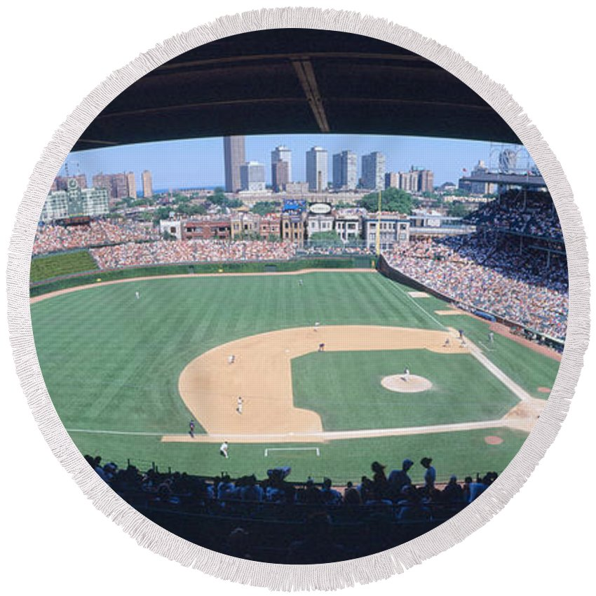 Photography Round Beach Towel featuring the photograph Wrigley Field, Chicago, Cubs V by Panoramic Images