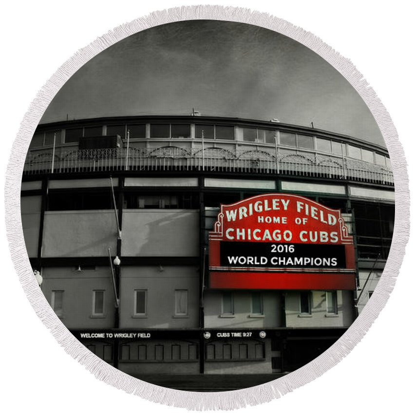 Cubs Round Beach Towel featuring the photograph Wrigley Field by Stephen Stookey
