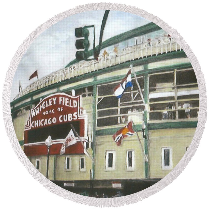 Wrigley Field Round Beach Towel featuring the painting Wrigley Field by Travis Day
