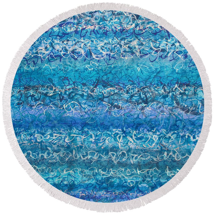 Water Round Beach Towel featuring the painting Writ On Water Iv by Jason Messinger