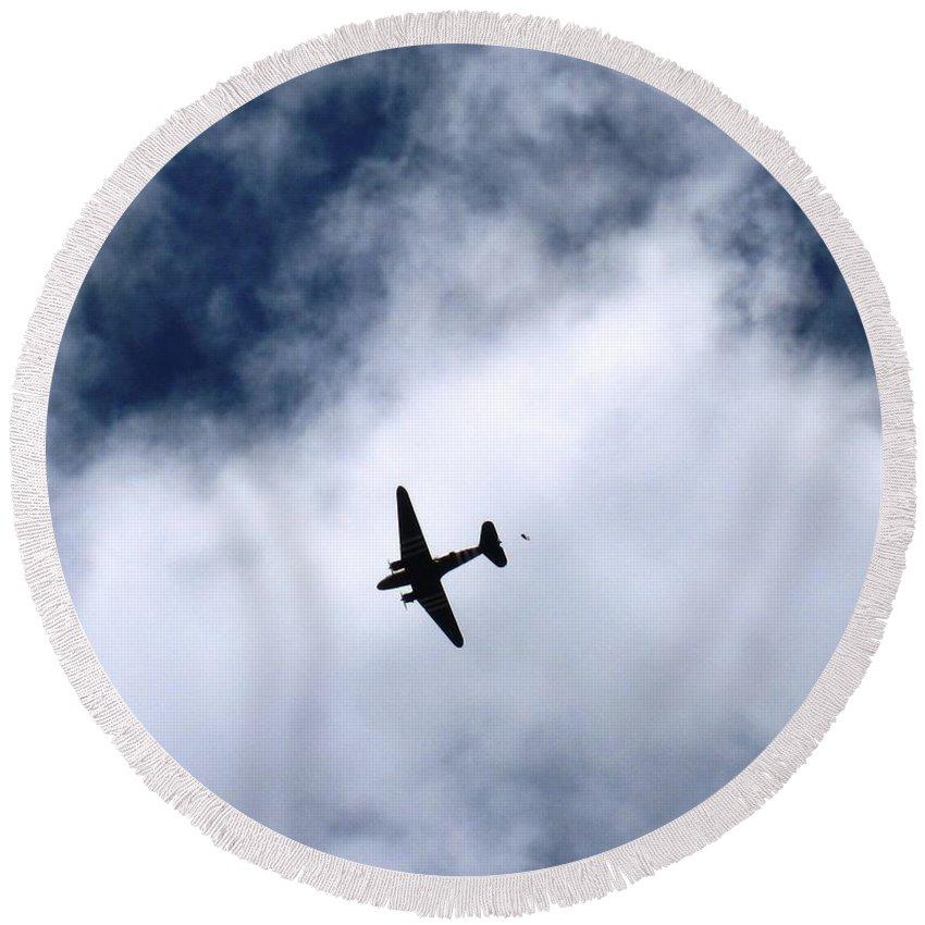 Wwii Round Beach Towel featuring the photograph Douglas C-47 Skytrain 2 - The Drop by Marta Robin Gaughen