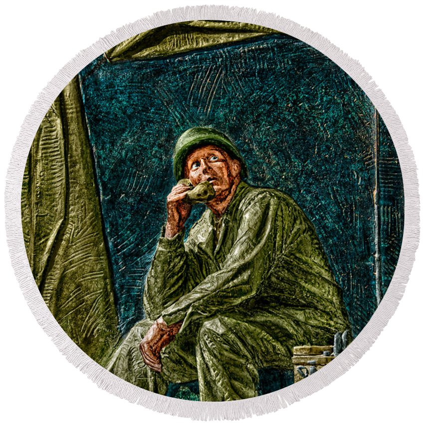 National Wwii Memorial Round Beach Towel featuring the photograph Wwii Radioman by Christopher Holmes