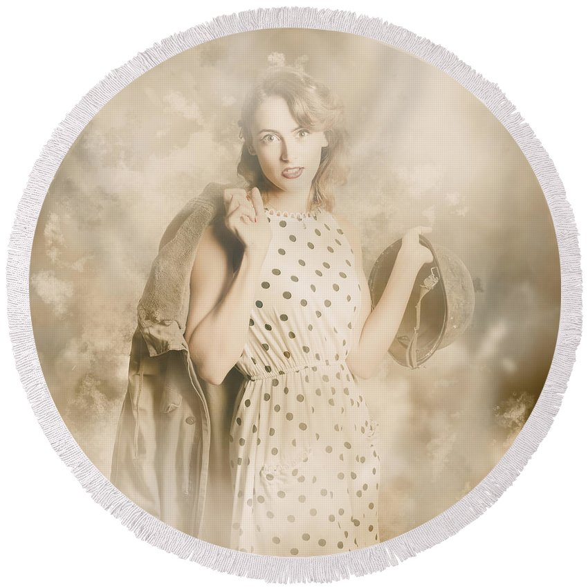 Vintage Round Beach Towel featuring the photograph Wwii Tour Of Duty Pin-up Woman by Jorgo Photography - Wall Art Gallery