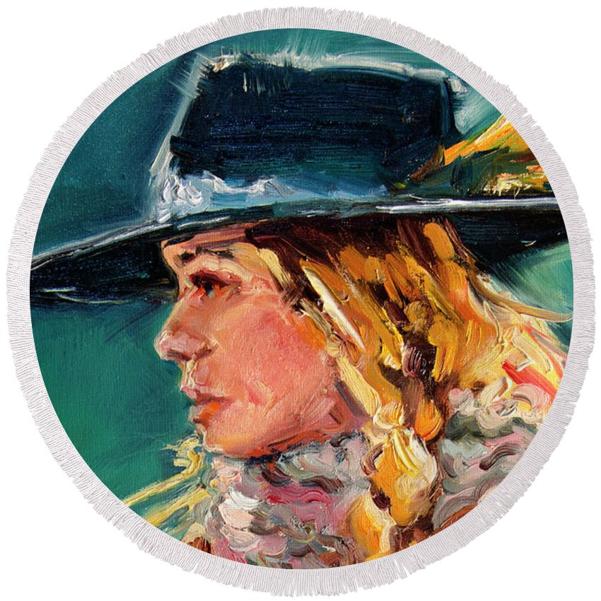 Cowgirl Round Beach Towel featuring the painting Wyoming Cowgirl Close by Diane Whitehead