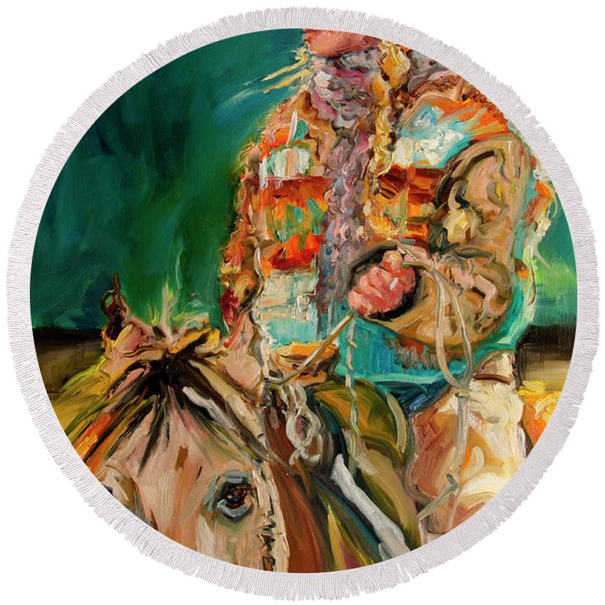 Cowgirl Diane Whitehead Round Beach Towel featuring the painting Wyoming Cowgirl by Diane Whitehead