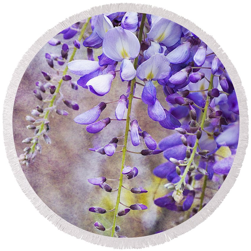 Wysteria Round Beach Towel featuring the photograph Wysteria by Jim And Emily Bush