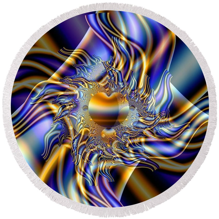 Fractal Art Round Beach Towel featuring the digital art X by Ron Bissett