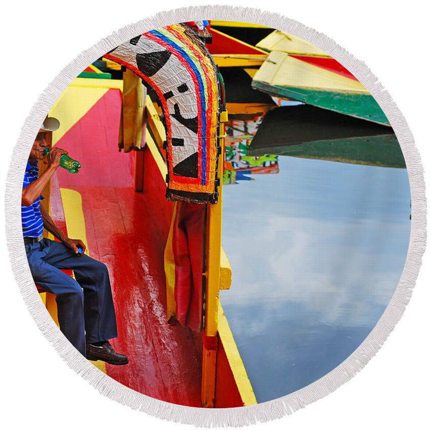 Skip Hunt Round Beach Towel featuring the photograph Xochimilco by Skip Hunt