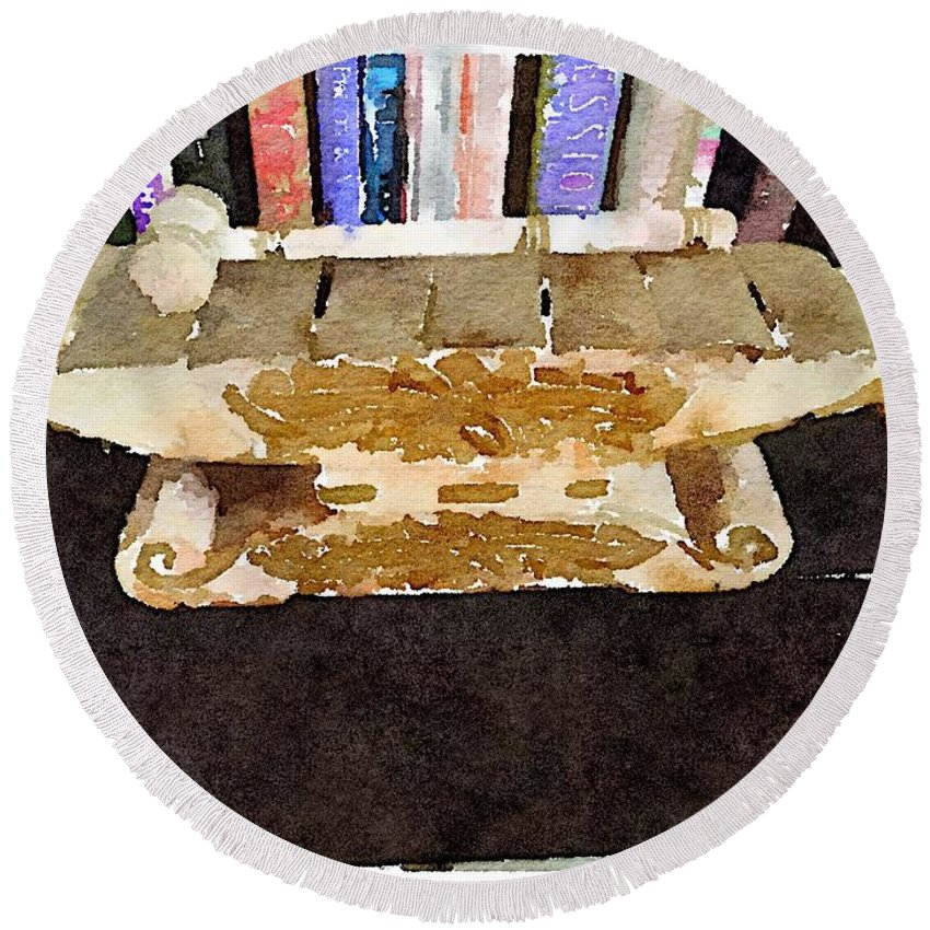 Waterlogue Round Beach Towel featuring the digital art Xylophone by Shannon Grissom