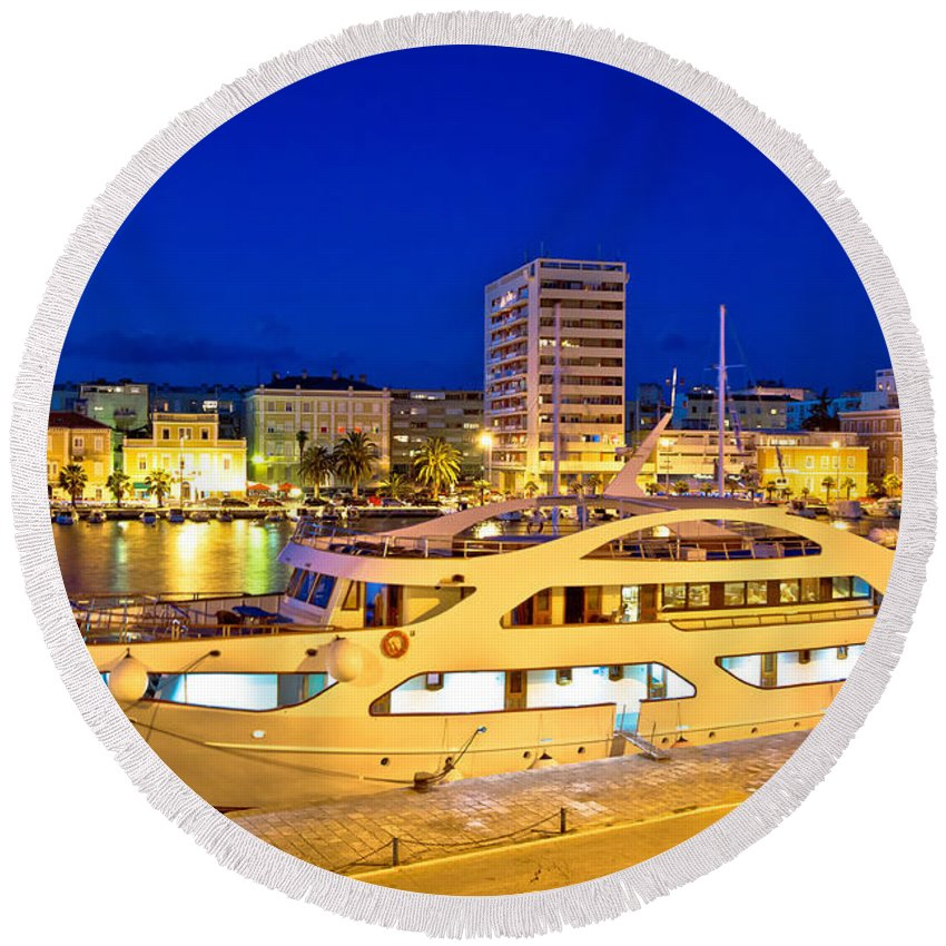 Evening Round Beach Towel featuring the photograph Yacht In Zadar Harbor Evening View by Brch Photography